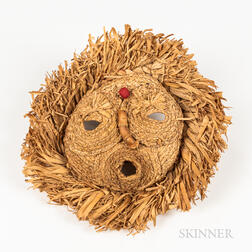 Onondaga Iroquois Husk Bushy Head   Face Mask