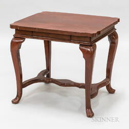 Asian Red-painted Hardwood Side Table
