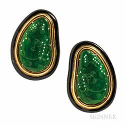 Jade and Enamel Earclips
