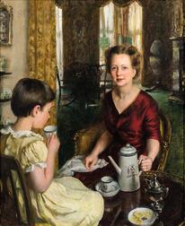 John Koch (American, 1909-1978)      Tea Time:  Marian Burt Morgan and Evelyn Morgan as a Girl