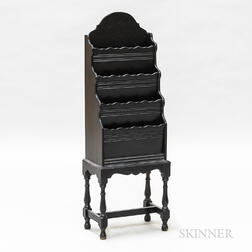 Queen Anne-style Black-painted Magazine Stand