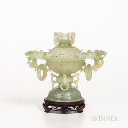 Hardstone Openwork Censer and Cover