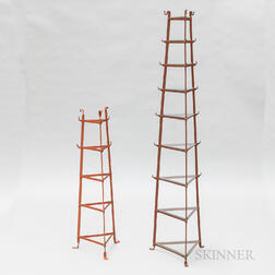 Two Red-painted Wrought Iron Plant Stands