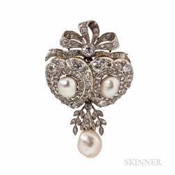 Edwardian Howard & Co. Pearl and Diamond Pendant/Brooch