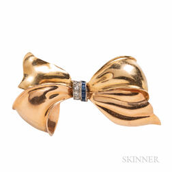 Retro 14kt Bicolor Gold Gem-set Bow Brooch