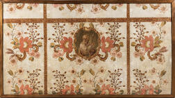 French or Italian School, 18th/19th Century, Canvas Panel with Floral Motifs and Central Cartouche with Biblical Figure Holding a Flowe