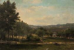 George Frank Higgins (American, 1850-1884)      Bucolic Summer Landscape