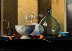 Robert Douglas Hunter (American, 1928-2014)      Grand Still Life with Green Glass Bottle and Japanese Screen