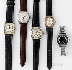 Five Illinois Watch Co. Wristwatches