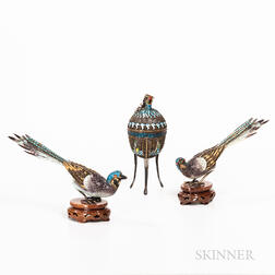 Three Silver Cloisonne Works
