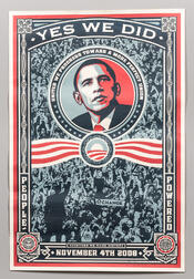 """Fairey, Shepard (1970-) Barack Obama """"Yes We Did"""" Poster."""