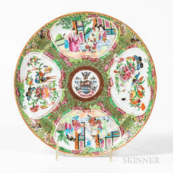 Rose Medallion Armorial Export Porcelain Plate