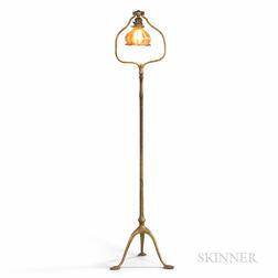 Tiffany Studios Harp Floor Lamp with Gold Iridescent Glass Shade