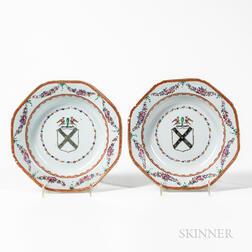 Pair of Armorial Export Porcelain Soup Plates