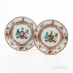 Pair of Armorial Export Porcelain Plates