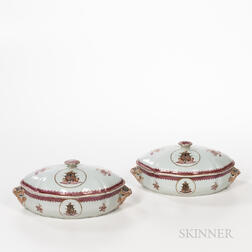 Pair of Armorial Export Porcelain Serving Dishes and Covers