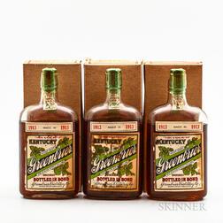 Kentucky Greenbrier 11 Years Old 1913, 3 pint bottles (oc)