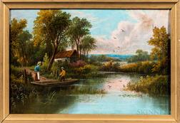 American School, 19th Century    Going Fishing
