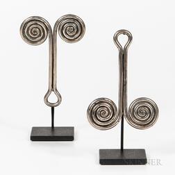 Pair of Batak Silver Ear Ornaments, Padung-Padung