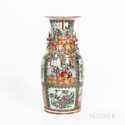 Large Rose Medallion Pattern Export Porcelain Vase