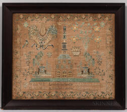 """Needlework Sampler """"Sarah B. Mode's Work in the 9th year of her age,"""""""