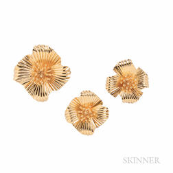 Retro Raymond Yard 14kt Gold Brooch and Earclips