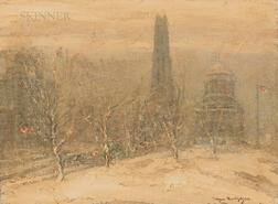 Johann Berthelsen (American, 1883-1972)      Riverside Church and General Grant's Tomb in Winter, New York