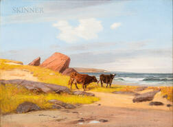 Albion Harris Bicknell (American, 1837-1915)      Seaside Pasture with Cattle