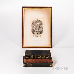 Two Inscribed George Cruikshank Books, a Print, and a Third Book.