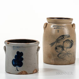 Two Pieces of Cobalt-decorated Stoneware