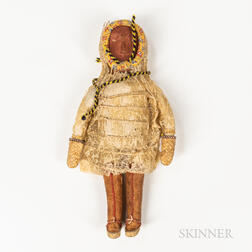 Eskimo Hide and Wood Doll