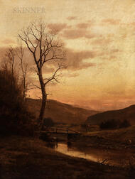 John Adams Parker Jr. (American, 1827-1905)      Autumn View with Quiet River and Wooden Bridge at Dusk