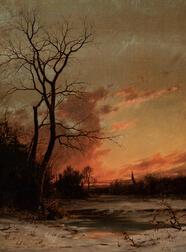 John Adams Parker Jr. (American, 1827-1905)      Winter Landscape in Afterglow