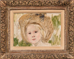 Mary Cassatt (American, 1844-1926)      Sketch of a Head of a Girl in a Hat with a Black Rosette