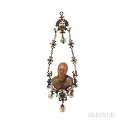 Renaissance Revival Gold and Enamel Gem-set Pendant