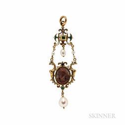 Renaissance Revival Gold, Hardstone Cameo, and Enamel Pendant