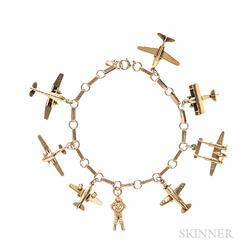 World War II-themed 14kt Gold Airplane Charm Bracelet