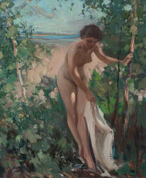 Emile Albert Gruppé (American, 1896-1978)      Nude Toweling Off by Trees at a Beach