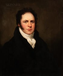 Attributed to Sir William Beechey (British, 1753-1839)      Bust Portrait of a Young Man in a Dark Blue Coat and White Cravat