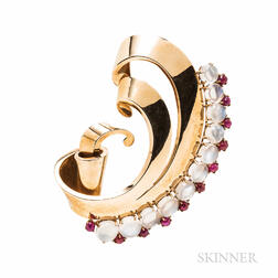 Large Retro 14kt Gold, Moonstone, and Ruby Brooch