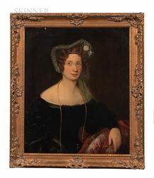 British School, 19th Century      Portrait of a Lady in a Flowered Bonnet