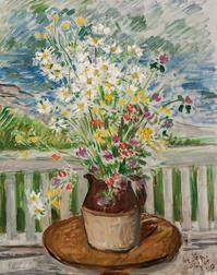 Waldo Peirce (American, 1884-1970)      Floral Still Life on Porch