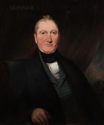 British School, 19th Century      Portrait of Man Wearing a Striped Teal Waistcoat