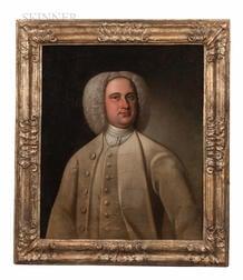British School, 18th Century      Portrait of a Wigged Man in a Cream-colored Coat