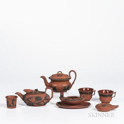 Seven Wedgwood Rosso Antico Items
