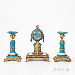 Porcelain and Gilt-bronze Three-piece Clock Garniture