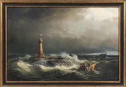 Hans Emil Jahn (Norwegian, 1834-1902)      Wreck and Rescue by a Lighthouse