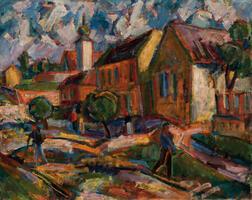 Hungarian School, 20th Century      Village Scene