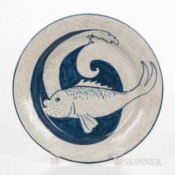 Dedham Pottery Fish and Wave Plate