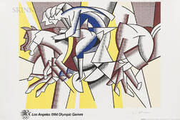 After Roy Lichtenstein (American, 1923-1997)      The Red Horsemen (The Equestrians)   for Los Angeles 1984 Olympic Games